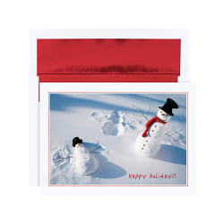 "Holiday Collection Holiday Cards, 5 5/8"" x 7 7/8"", Snowman Angels Design, Red, Pack Of 18"