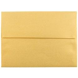 "JAM Paper® Booklet Invitation Envelopes, A6, 4 3/4"" x 6 1/2"", Stardream Metallic Gold, Pack Of 25"