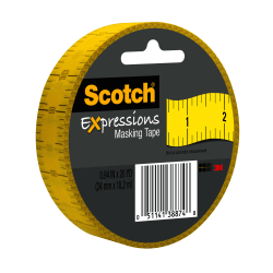 "Scotch® Expressions Masking Tape, 3"" Core, 1"" x 20 Yd., Ruler"