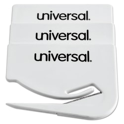 """Universal® Letter Slitter Steel Hand Letter Openers With Concealed Blade, 2 1/2"""", White, Pack Of 3"""