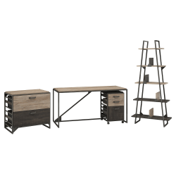 """Bush Furniture Refinery Industrial Desk With A Frame Bookshelf And File Cabinets, 62""""W, Rustic Gray/Charred Wood, Standard Delivery"""