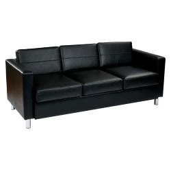 Office Star™ Avenue Six Pacific Sofa, Black/Silver