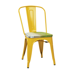 Office Star™ Bristow Armless Chairs with Wood Seats, Pine Alice/Yellow, Set Of 4 Chairs
