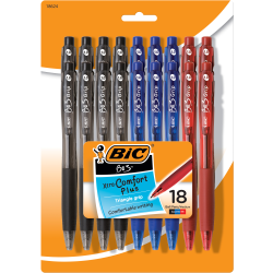 BIC® BU3 Grip RT Ball Pens, Medium Point, 1.0 mm, Clear Barrel, Assorted Ink Colors, Pack Of 18 Pens