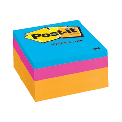 """Post-it® Notes Memo Cubes, 3"""" x 3"""", Orange Wave, Pack Of 1 Cube"""