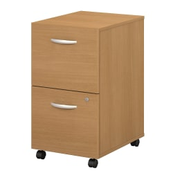 Bush Business Furniture Components 2 Drawer Mobile File Cabinet, Light Oak, Standard Delivery