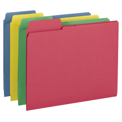 """Smead® 3-in-1 SuperTab® Section Folders, 8 1/2"""" x 11"""", Letter Size, Assorted Colors, Pack Of 12"""