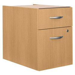 "Bush Business Furniture Components 20-1/6""D Vertical 2-Drawer 3/4 Pedestal Cabinet, Light Oak, Standard Delivery"