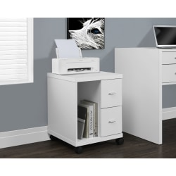 "Monarch Specialties 18""D Vertical 2-Drawer Mobile Office Cabinet, White"