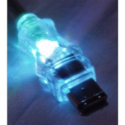 QVS FireWire/i.Link 6Pin to 6Pin Translucent Cable with LEDs - 15 ft FireWire Data Transfer Cable for Printer, Scanner, Storage Equipment - First End: 1 x 6-pin Male FireWire - Second End: 1 x 6-pin Male FireWire - Shielding - Blue, Translucent