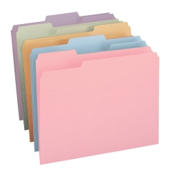 Smead® Color Collection Top-Tab File Folders, 1/3 Cut, Letter Size, Assorted Colors (No Color Choice), Pack Of 100