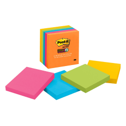 "Post-it® Super Sticky Notes, 3"" x 3"", Rio de Janeiro, Pack Of 5 Pads"