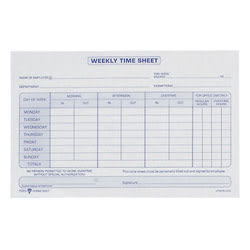 "TOPS® Weekly Timesheet Form, 5.5"" x 8.5"", White/Blue, 100 Sheets Per Pad, 2 Pads Per Pack"