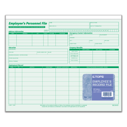 """TOPS® Employee Record File Folders, 11 3/4"""" x 9 1/2"""", Green, Pack Of 20"""