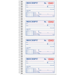 """TOPS™ Money/Rent Receipt Book, 2-Part, Carbonless, 11"""" x 5 1/4"""", White/Canary"""