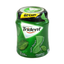 Trident® gum Sugar-Free Soft Sticks Spearmint Gum, 50 Pieces Per Cup, Box Of 6 Cups