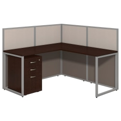 "Bush Business Furniture Easy Office L-Desk Open Office With 3-Drawer Mobile Pedestal, Fully Assembled, 44 15/16""H x 60 1/16""W x 60 1/16""D, Mocha Cherry"