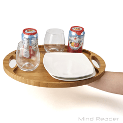 """Mind Reader Bamboo Round Serving Tray, 15 3/4"""" x 12"""", Brown"""