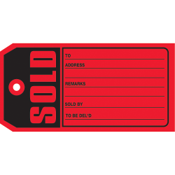 """Office Depot® Brand """"Sold"""" Tags, #5, 4 3/4"""" x 2 3/8"""", Red, Box Of 500"""
