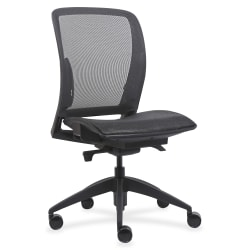 Lorell® Mesh Armless Mid-Back Chair, Black