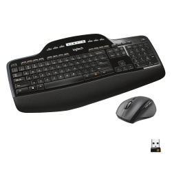 Logitech® Wireless Keyboard & Mouse, Straight Full Size Keyboard, Black, Right-Handed Optical Mouse, MK710