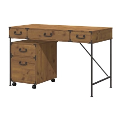"kathy ireland® Home by Bush Furniture Ironworks Writing Desk And 2 Drawer Mobile Pedestal, 48""W, Vintage Golden Pine, Standard Delivery"