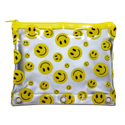 """Inkology Smiley Face Pencil Pouches, 7-1/2"""" x 9-1/2"""", Assorted Colors, Pack Of 12 Pouches"""
