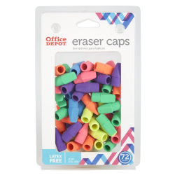 Office Depot® Brand Eraser Caps, Assorted Colors, Pack Of 72