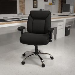 Flash Furniture HERCULES Fabric Mid-Back Task Chair, Black/Chrome