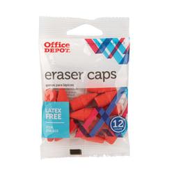 Office Depot® Brand Eraser Caps, Red, Pack Of 12 Eraser Caps