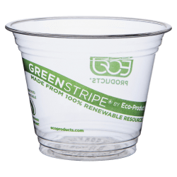 Eco-Products® GreenStripe® Plastic Cold Cups, Clear, 9 Oz, Pack Of 50