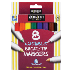 Sargent Art Washable Markers, Broad Tip, Assorted Colors, Box Of 8