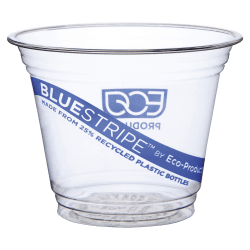 Eco-Products BlueStripe Recycled PET Cold Cups, 9 Oz, Clear, Pack Of 50