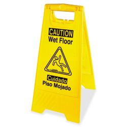 "Impact Products English/Spanish Wet Floor Sign - 1 Each - Caution Wet Floor Print/Message - 1"" Width x 24.6"" Height - Rectangular Shape - Impact Resistant, Foldable - Vinyl - Yellow, Black"