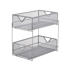 Mind Reader 2-Tier Metal Mesh Storage Basket, Medium Size, Silver