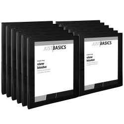 "Just Basics Round-Ring View Binder, 1/2"" Rings, 61% Recycled, Black, Pack Of 12 Binders"