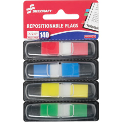 "SKILCRAFT® Self-Adhesive Repositionable Color Flags, 1/2"" x 1 3/4"", 35 Flags Per Dispenser, 4 Dispensers Per Pack, Pack Of 4, Assorted Colors (AbilityOne 7510-01-620-0283)"
