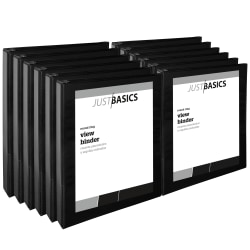 """Just Basics® View 3-Ring Binder, 1"""" Round Rings, 41% Recycled, Black, Pack Of 12"""
