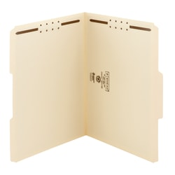 Smead® Manila Reinforced Tab Fastener Folders With Two Fasteners, 1/3 Cut, Letter Size, Pack Of 50