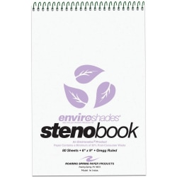 "Roaring Spring Enviroshades Steno Books, 6"" x 9"", Gregg Ruled, 80 Sheets Per Pad, 30% Recycled, Orchid Lavender, Pack Of 4"