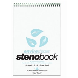 "Roaring Spring Enviroshades Steno Books, 6"" x 9"", Gregg Ruled, 80 Sheets Per Pad, 30% Recycled, Blue, Pack Of 4"
