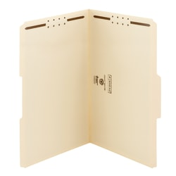 """Smead® Manila Reinforced Tab Fastener Folders With Two Fasteners, 1"""" Expansion, 8 1/2"""" x 14"""", Legal, Manila, Box of 50"""