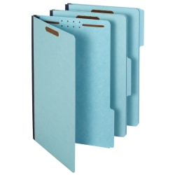 Pendaflex® Pressboard Folders With Fasteners, 1/3 Cut, Legal Size, 30% Recycled, Blue, Pack Of 25