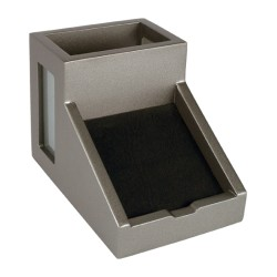 """Victor® Classic Silver Collection™ Pencil Cup With Note Holder, 4""""H x 4 1/2""""W x 6 3/10""""D, Silver"""