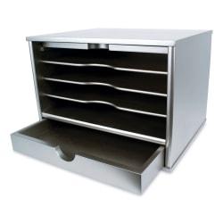 "Victor® Desktop Organizer, 9 3/4""H x 14""W x 10 3/4""D, Classic Silver"