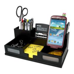 "Victor® Midnight Black Collection™ Desk Organizer With Smartphone Holder, 5 1/2""H x 10 1/2""W x 3 1/2""D, Black"