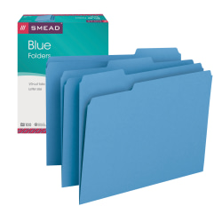 Smead® Color File Folders, Letter Size, 1/3 Cut, Blue, Box Of 100