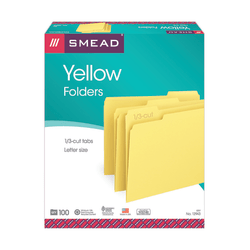 Smead® Color File Folders, Letter Size, 1/3 Cut, Yellow, Box Of 100
