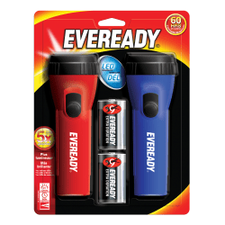 """Eveready® Economy LED Flashlight Twin Pack, 2 7/16"""", Red/Blue, Pack Of 2"""