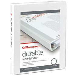 "Office Depot® Brand Durable View 3-Ring Binder, 1/2"" Round Rings, White"